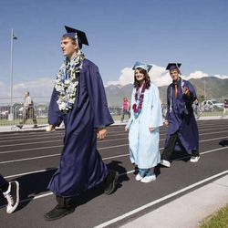 Graduates of the class of 2009 at Salem Hills High march in the first ever graduation at the new south Utah County school. This year, DeseretNews.com will present  live video coverage of Utah high school graduation ceremonies.