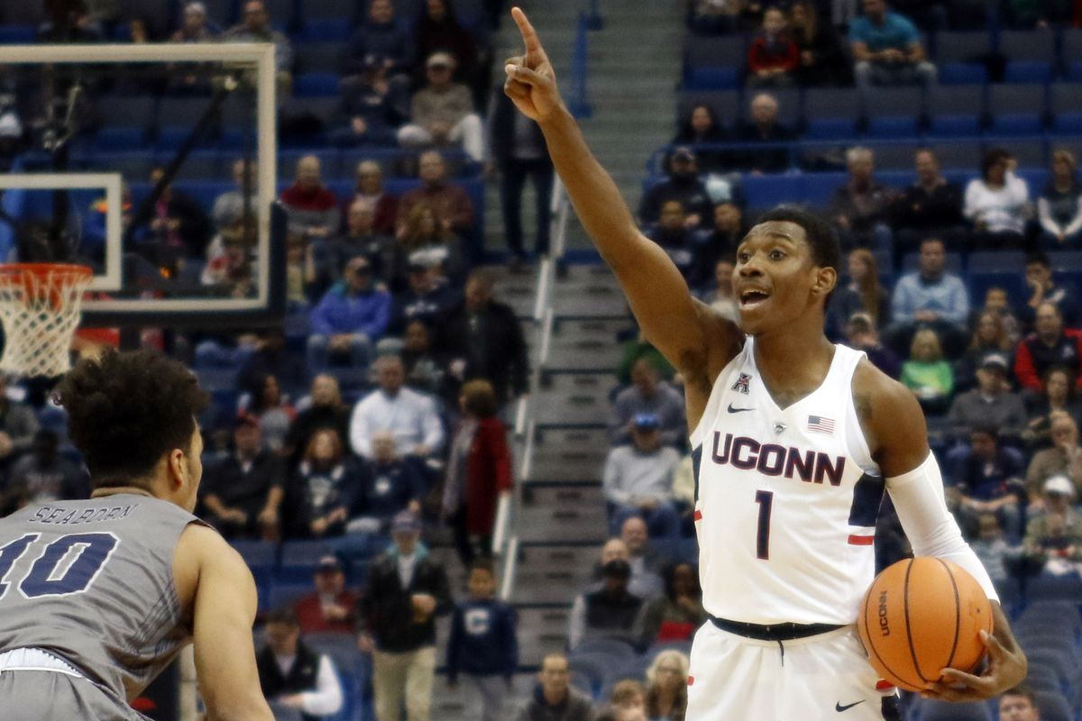 UConn's Christian Vital (1) calls out a play during the Monmouth Hawks vs UConn Huskies men's college basketball game at the XL Center in Hartford, CT on December 2, 2017.