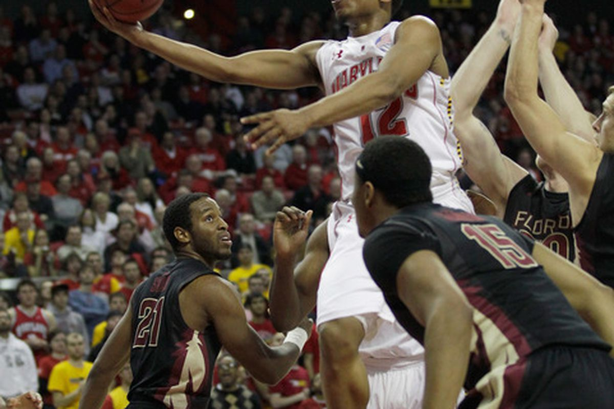 COLLEGE PARK MD - FEBRUARY 23: Terrell Stoglin #12 of the Maryland Terrapins puts up a shot against the Florida State Seminoles at the Comast Center on February 23 2011 in College Park Maryland.  (Photo by Rob Carr/Getty Images)