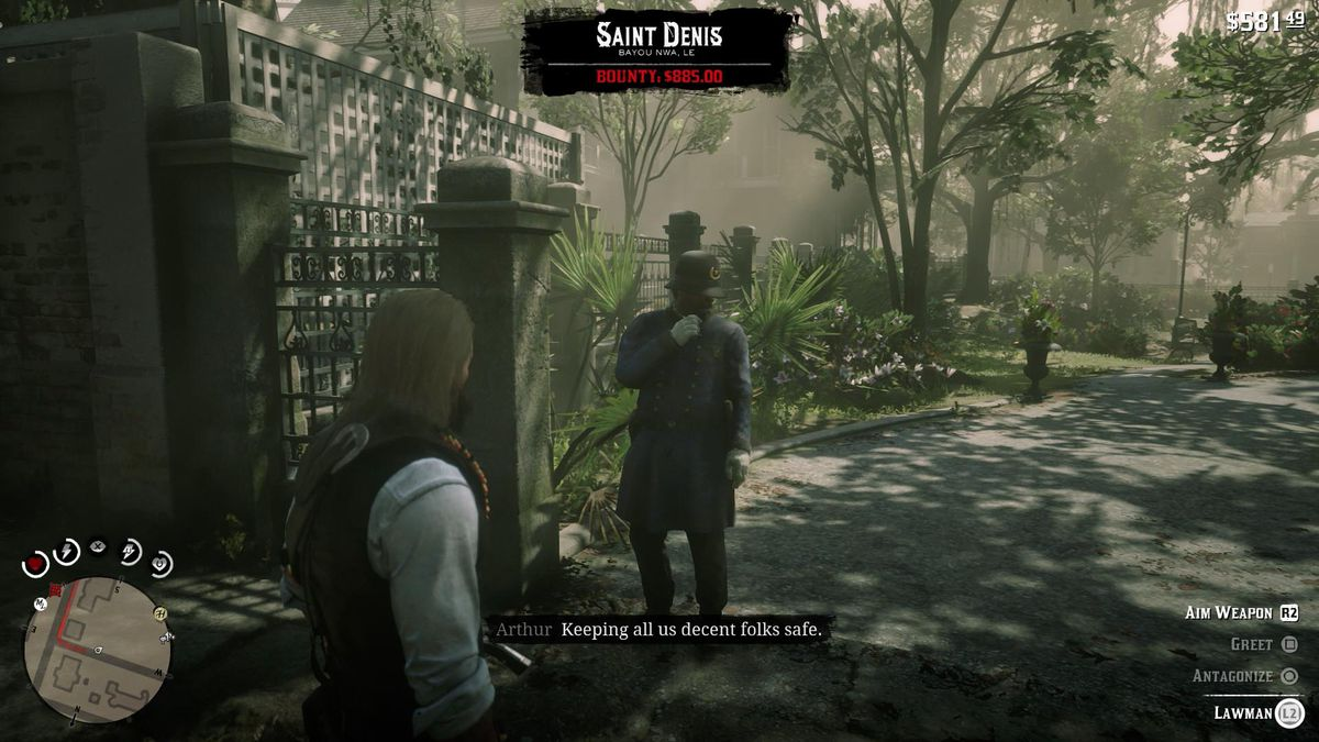 Having a large Bounty does not mean the cops will chase you on sight. Arthur has over $800 in Bounty in this image, but the lawman is still friendly.