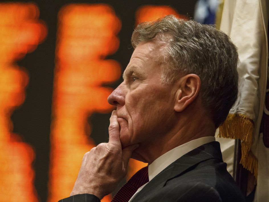 House Speaker Mike Madigan looks out over the floor the Illinois House in 2017. File Photo. | Justin L. Fowler/The State Journal-Register via AP