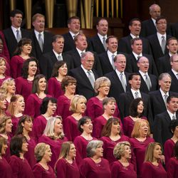 The Tabernacle choir performs during the Sunday afternoon session of the 183rd Semiannual General Conference for the Church of Jesus Christ of Latter-day Saints Sunday, Oct. 6, 2013 inside the Conference Center.