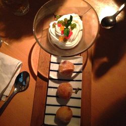 """Red Bean Doughnut with Ice Cream and Fruit from Morimoto by <a href=""""http://www.flickr.com/photos/polsia/8273960229/in/pool-eater"""">Polsia</a>"""