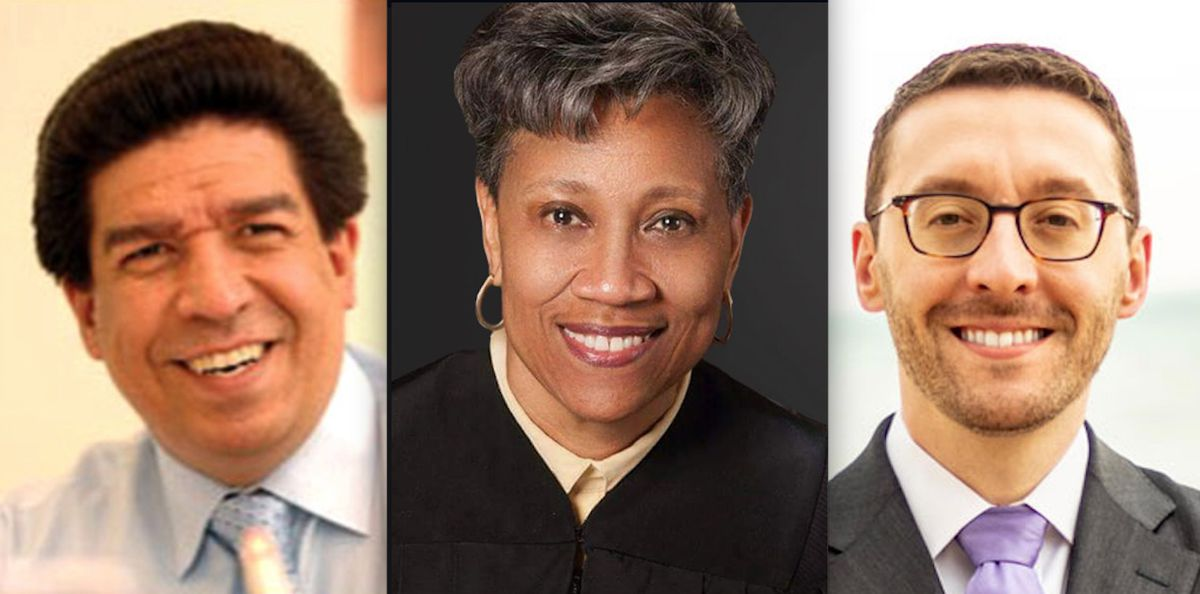 Supreme Court candidates, left to right, Appellate Justices Jesse Reyes and Cynthia Cobbs and lawyer Daniel Epstein.