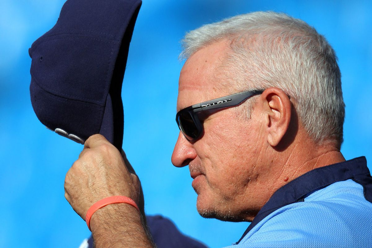 May 15, 2012; Toronto, ON, Canada; Tampa Bay Rays manager Joe Maddon (70) before their game against the Toronto Blue Jays at the Rogers Centre. Mandatory Credit: Tom Szczerbowski-US PRESSWIRE