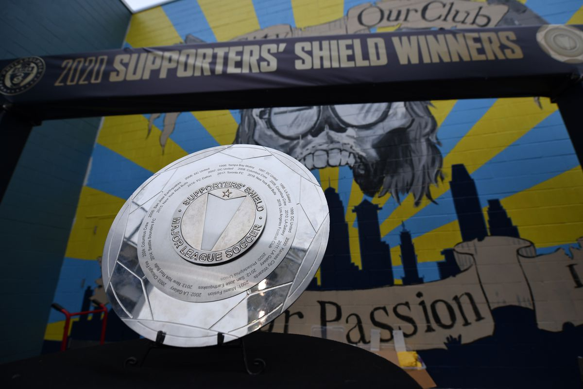 The Supporters' Shield Trophy sits on display before the game between Inter Miami CF and the Philadelphia Union at Talen Energy Stadium.