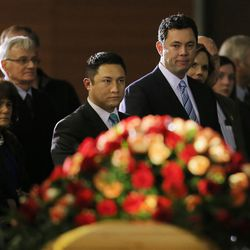 U.S. Rep. Jason E. Chaffetz looks at the casket of former BYU football coach LaVell Edwards at a memorial service at the Provo Convention Center on Friday, Jan. 6, 2017.
