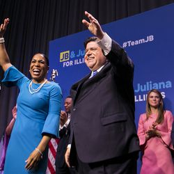 Gubernatorial candidate J.B. Pritzker and his running mate, State Rep. Juliana Stratton, celebrate his win. | Ashlee Rezin/Sun-Times
