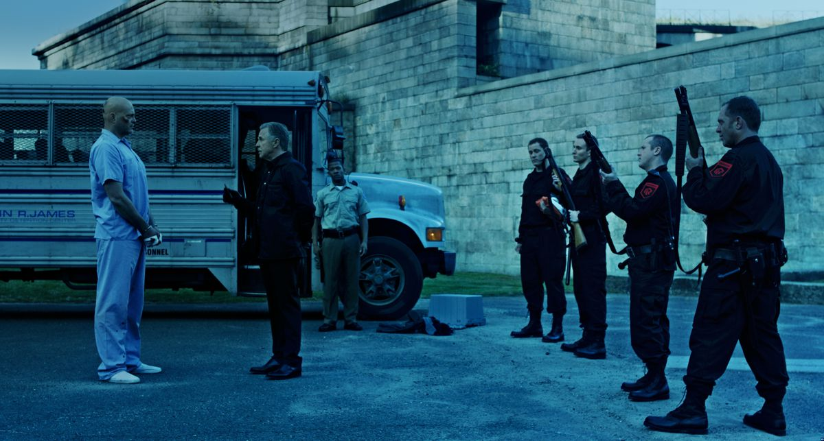 Vaughn facing off with Don Johnson in Brawl in Cell Block 99.
