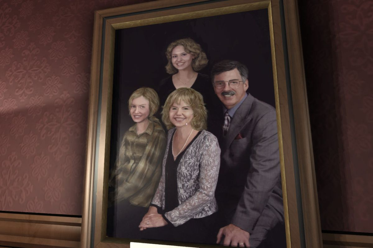 a family portrait hanging on a wall in Gone Home