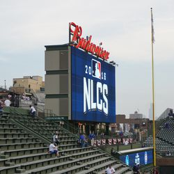 NLCS logo on the right-field video board