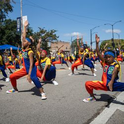 Geek Squad performs during the Bud Billiken Parade Saturday.