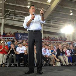 Republican presidential candidate, former Massachusetts Gov. Mitt Romney,  campaigns at the Military Aviation Museum in Virginia Beach, Va., Saturday, Sept. 8, 2012.