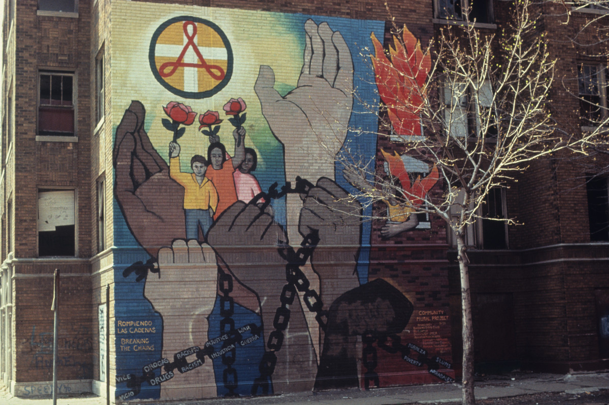 """The mural called """"Breaking the Chains,"""" done by John Pitman Weber at Rockwell and LeMoyne in 1971."""