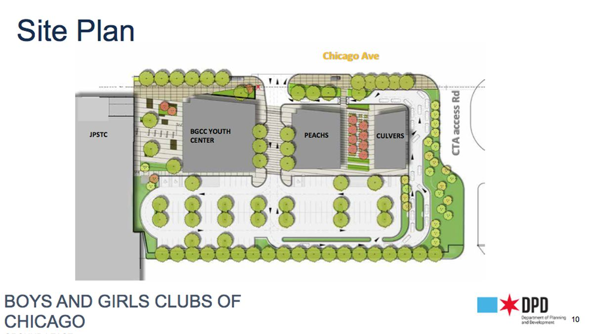 The site plan for the new public safety training center to be built in West Garfield Park. A Chicago City Council committee on Wednesday approved leasing part of the site to the Boys & Girls Clubs of Chicago, which will build a new club on the campus. Two restaurants, a Culver's and a Peach's, also are planned.