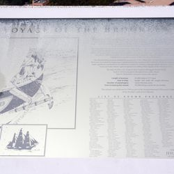 This panel, located at the Oakland LDS Temple, interprets the story of Samuel Brannan and the ship Brooklyn.