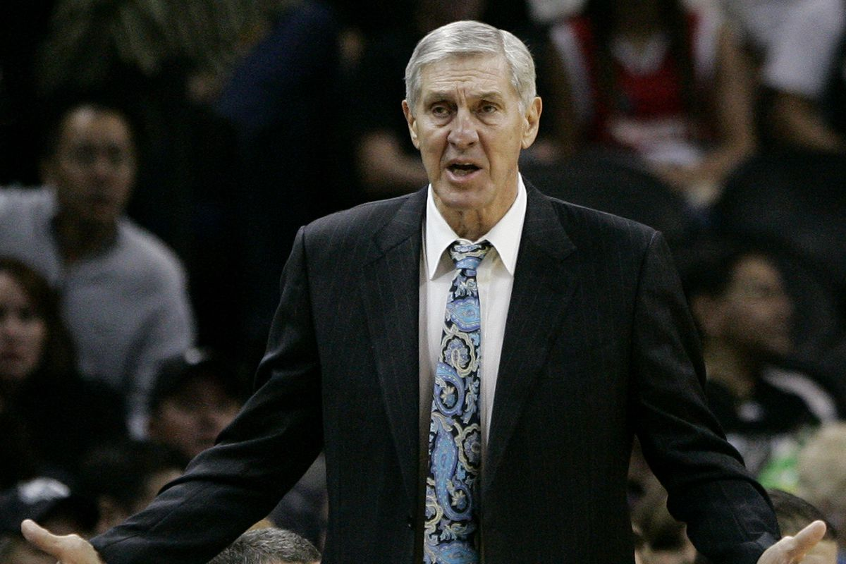 Utah Jazz head coach Jerry Sloan questions a call during the first half of an NBA basketball game against the San Antonio Spurs, Thursday, Nov. 19, 2009, in San Antonio. (AP Photo/Darren Abate)