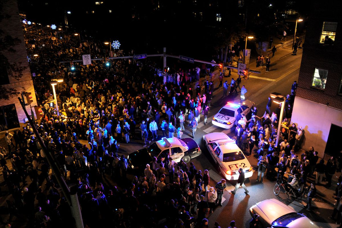 Penn State fans took the streets after the school fired Joe Paterno on Wednesday night. The outrage is only the latest black eye for the B1G conference, which has been in crisis mode since before the season began.
