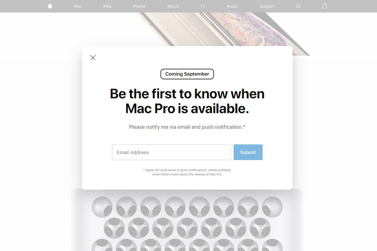 Apple's website says the Mac Pro will come out in September