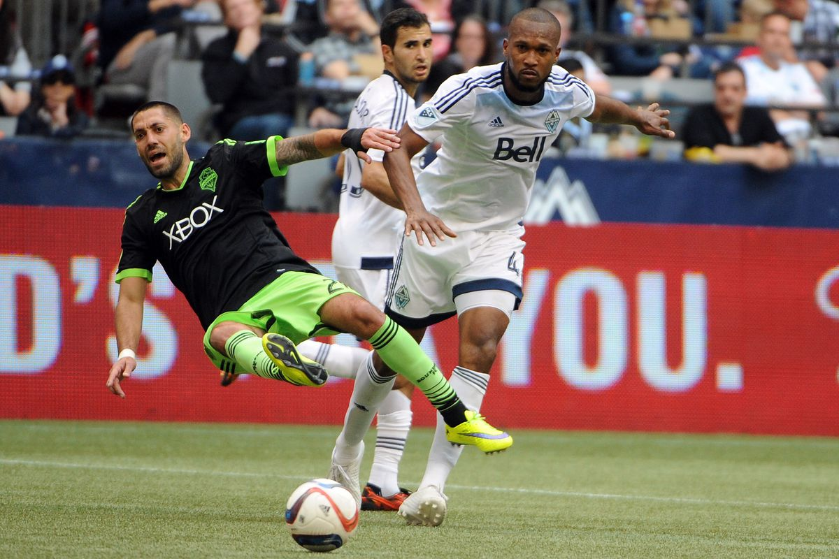 I have nothing positive to say about last week's Cascadia clash, so here's a picture of Kendall Waston bowling over Clint Dempsey.