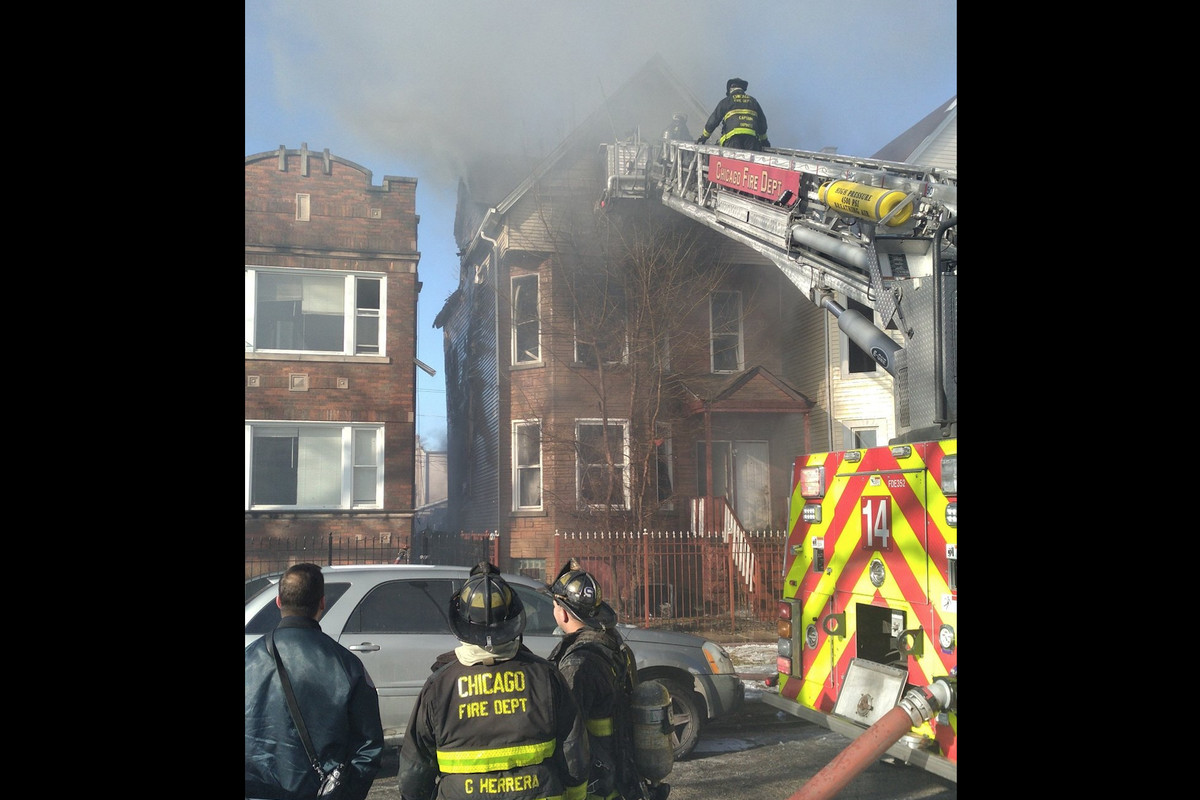 Crews respond to a fire Thursday, Jan. 21, in the 500 block of North Lawler Avenue.