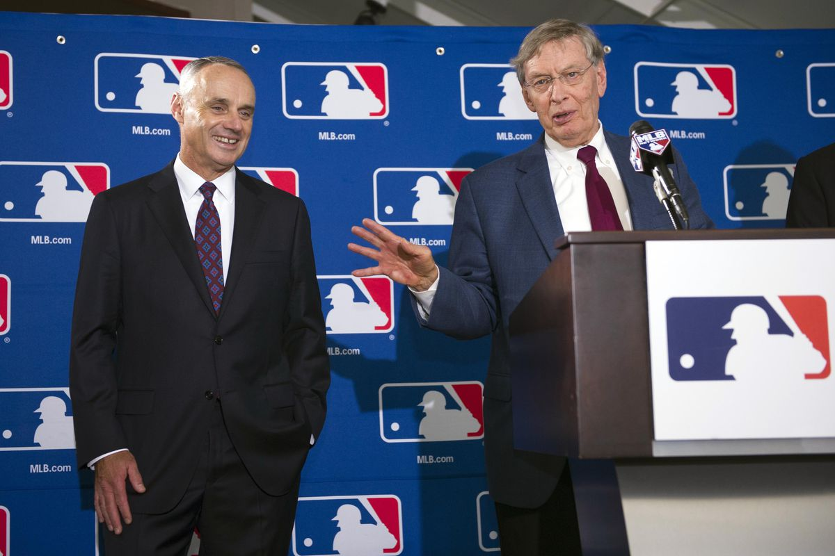 """""""Don't worry, I'm teaching Manfred how to mispronounce Lass Angeleez and forget what year it is when announcing the draft year""""- Selig"""