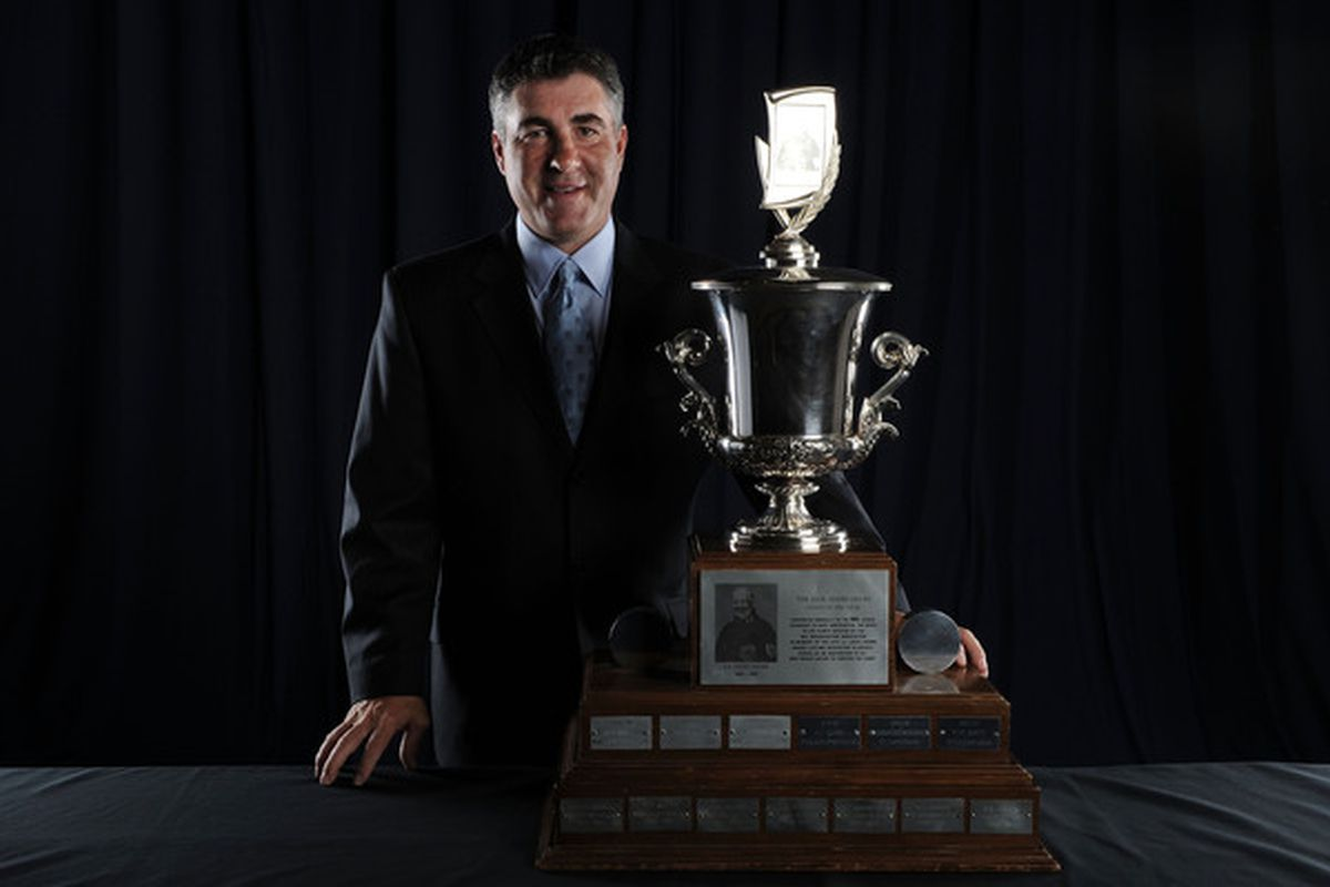 LAS VEGAS - JUNE 23:  Dave Tippett of the Phoenix Coyotes poses for a portrait with the Jack Adams Award during the 2010 NHL Awards at the Palms Casino Resort on June 23, 2010 in Las Vegas, Nevada.  (Photo by Harry How/Getty Images)