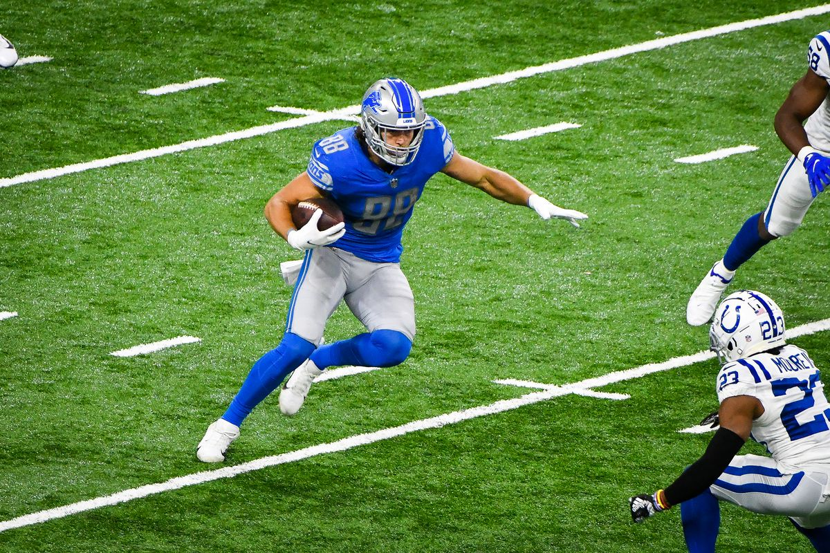 Detroit Lions tight end T.J. Hockenson turns upfield with a catch during the Detroit Lions versus Indianapolis Colts game on Sunday November 1, 2020 at Ford Field in Detroit, MI.