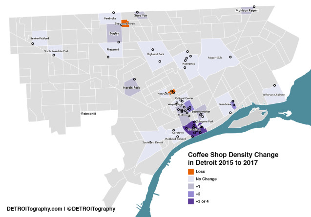 This Map Shows Two Years of Evolution in Detroit's Coffee Landscape Detroit Neighborhoods Map on
