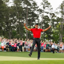 Some of the photos of Getty's Kevin C. Cox from his position at the 18th green at the 2019 Masters.