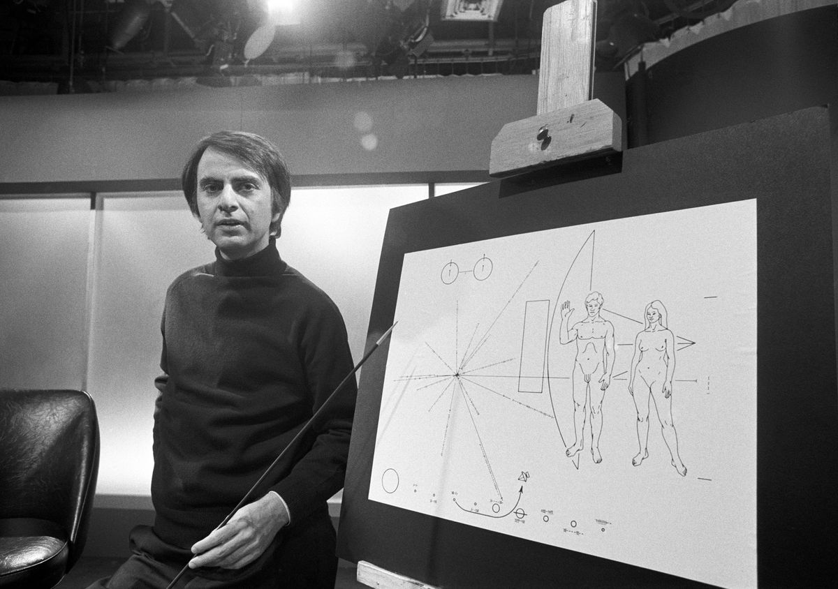 Carl Sagan helped design this early pictorial message to aliens. It was engraved on an aluminum plaque that was attached to the Pioneer 10 spacecraft before its launch in 1972.