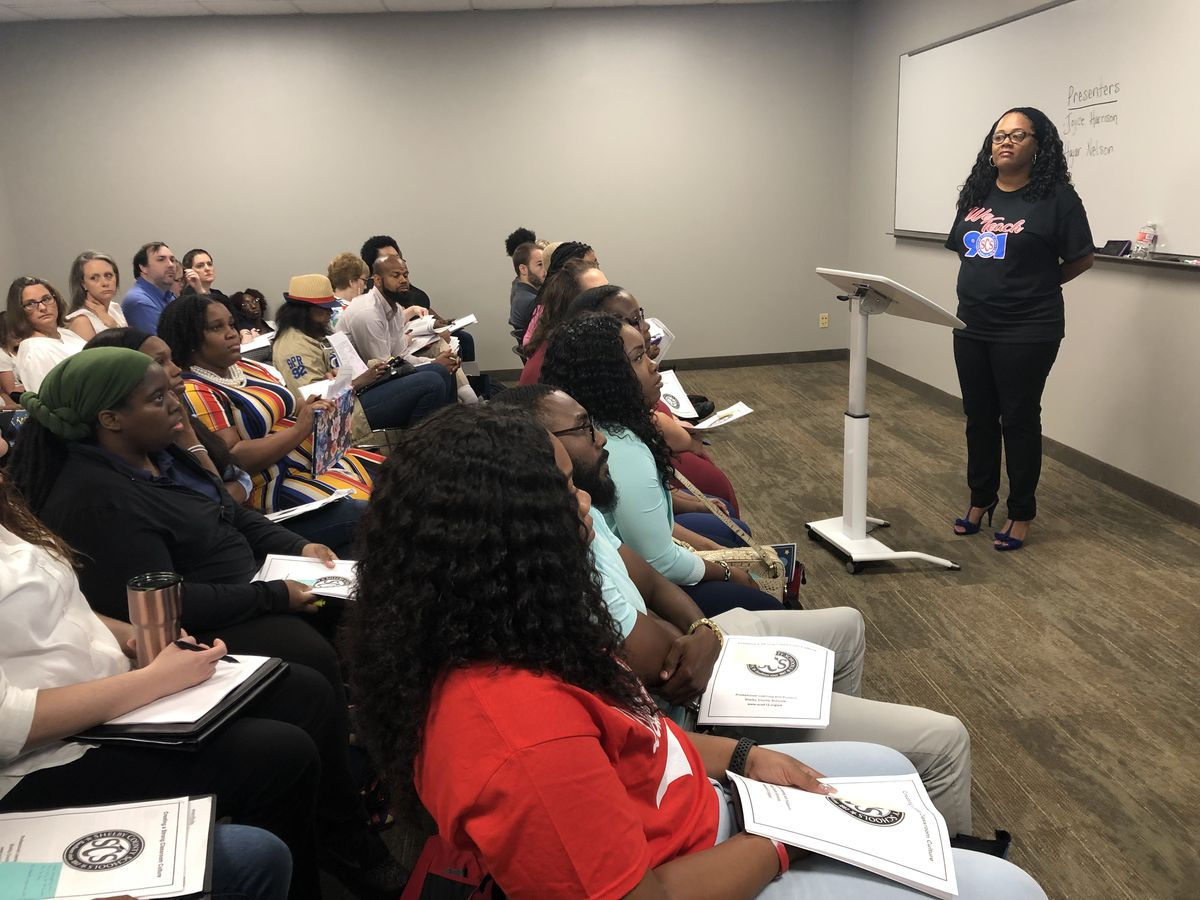 Veteran teacher and Shelby County Schools district instructional advisor Joyce Harrison led an informational session on classroom management during a new teacher orientation event on Aug. 1, 2019.