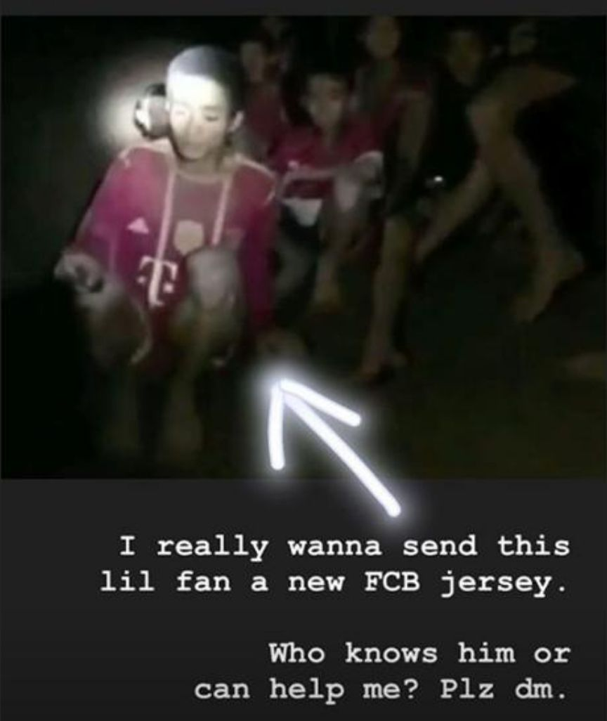 Javi Martinez asks his Instagram followers for help sending a jersey to a young Bayern Munich fan rescued with his teammates.