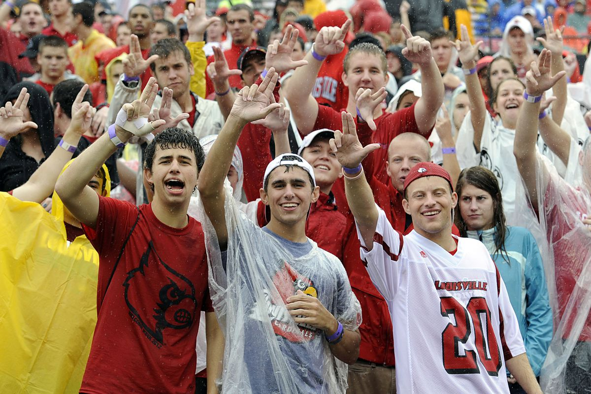 September 2,  2012; Louisville, KY USA;  Louisville Cardinals fans cheered during the first half of play against the Kentucky Wildcats at Papa John's Cardinals Stadium.  Louisville defeated Kentucky 32-14.  Mandatory Credit: Jamie Rhodes-US PRESSWIRE