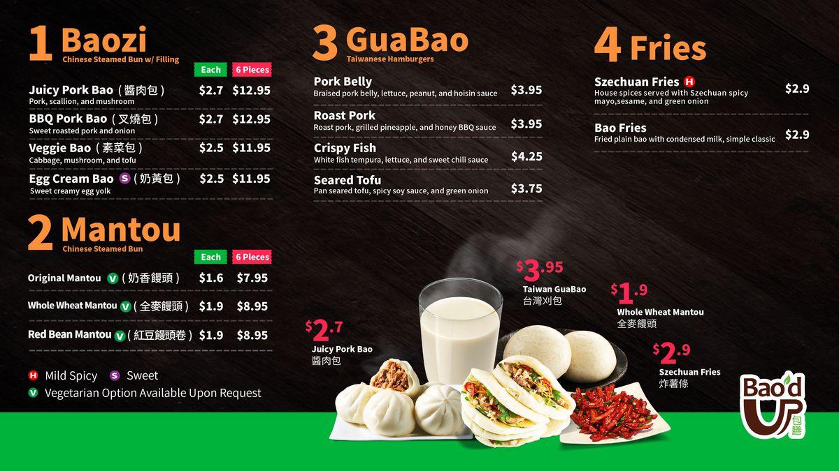 Bao'd Up's food menu
