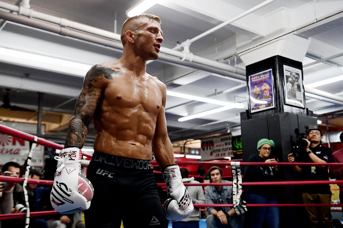 TJ Dillashaw during open workouts for UFC Brooklyn in 2019.