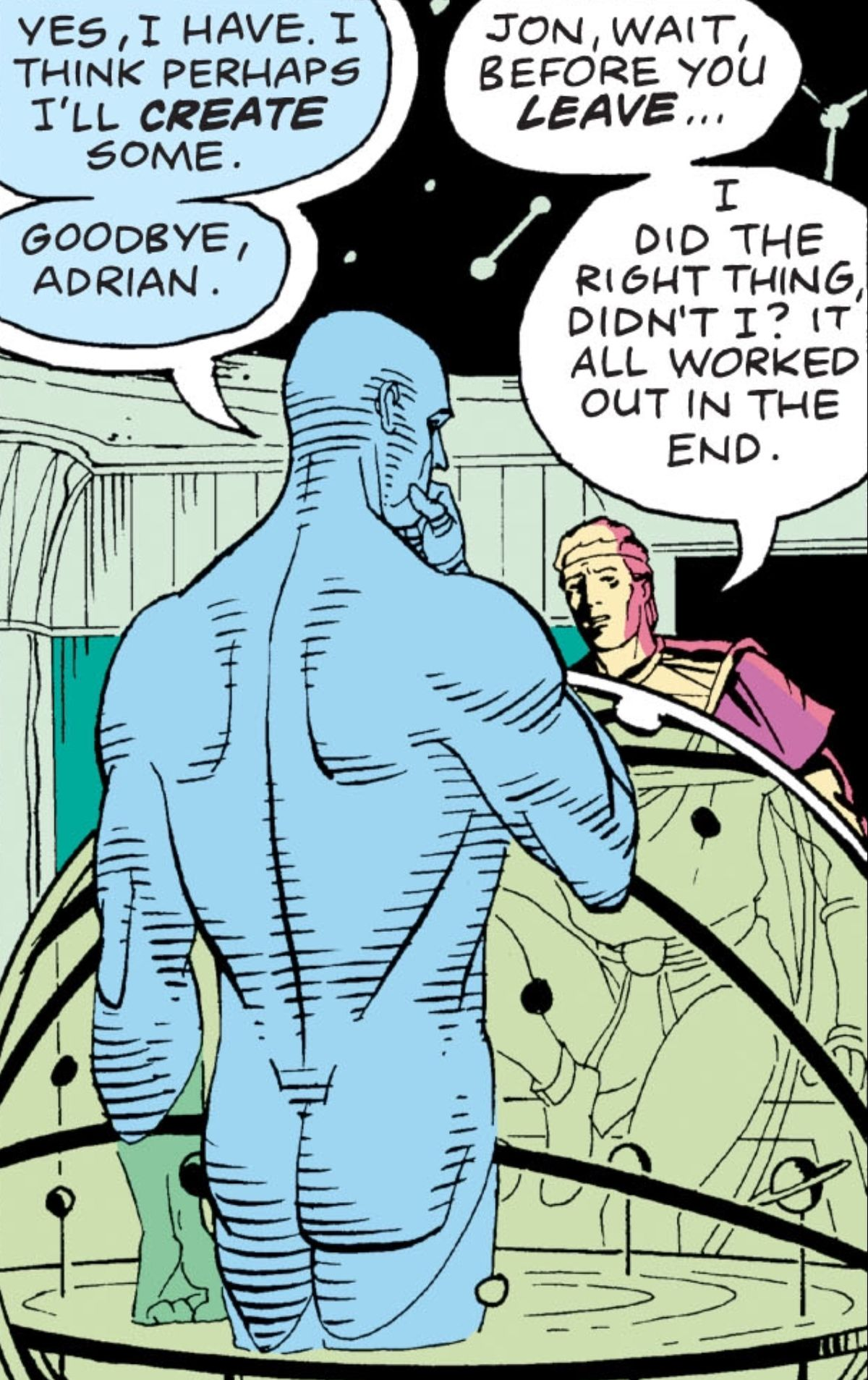 Doctor Manhattan says that he think's he'll create some human life and says goodbye to Ozymandias, in Watchmen, DC Comics (1986).