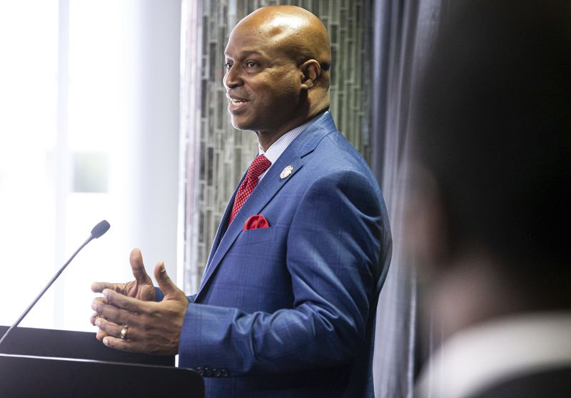 """State House Speaker Emanuel """"Chris"""" Welch, D-Hillside, holds his first news conference after being sworn in at the Bank of Springfield Center in January."""