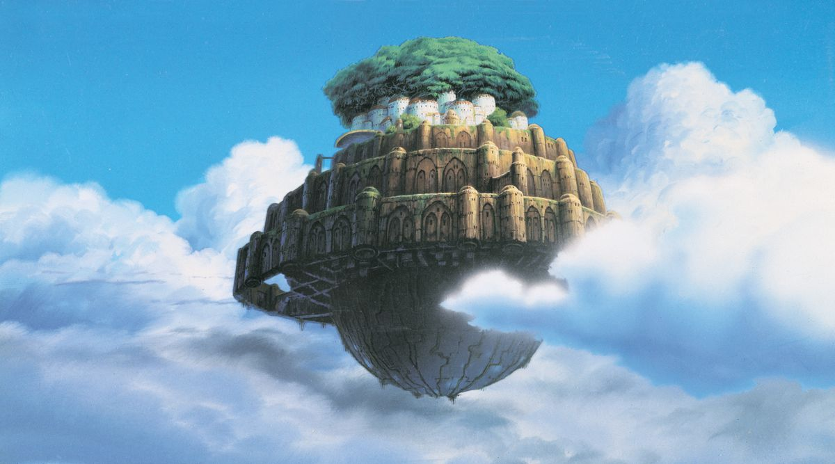 The flying city of Laputa, a multi-decked stone complex with a vast tree growing out of it, floats within in the clouds in Castle in the Sky.