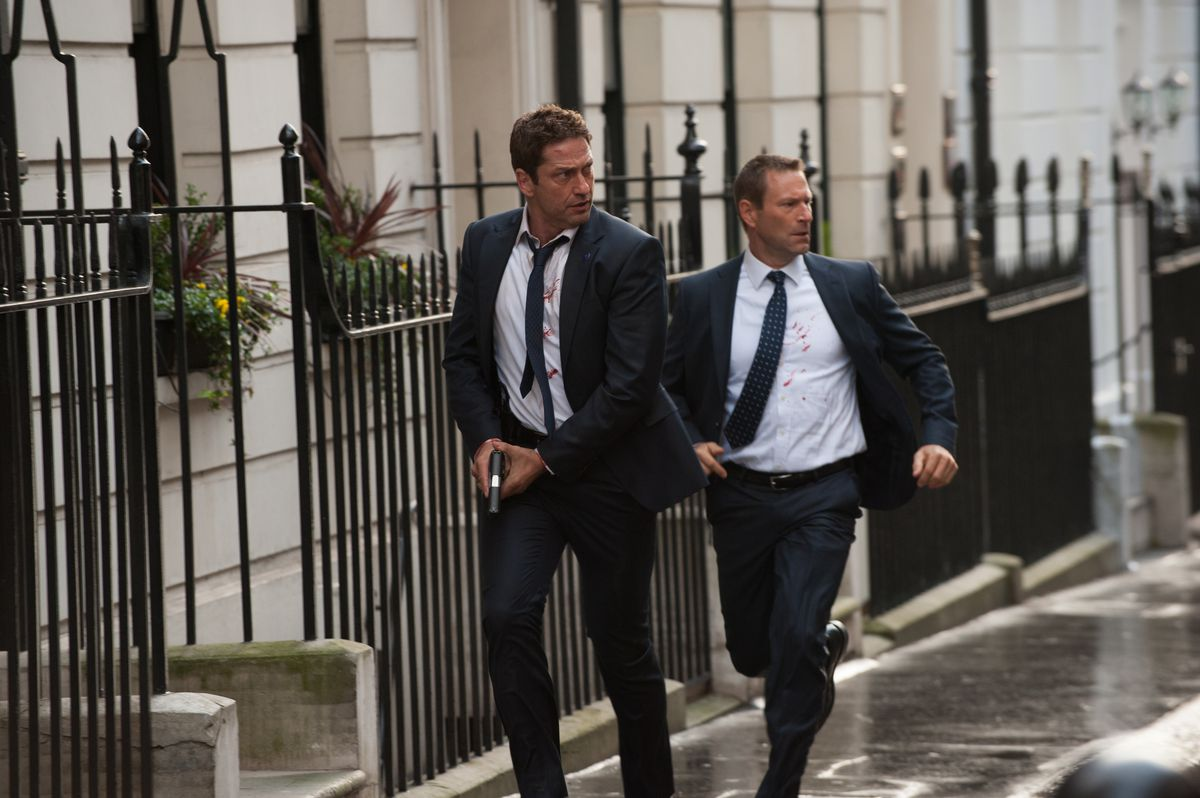 """After terrorists attack, a Secret Service officer (Gerard Butler, left) goes on the run with the president (Aaron Eckhart) in """"London Has Fallen.""""   GRAMERCY"""