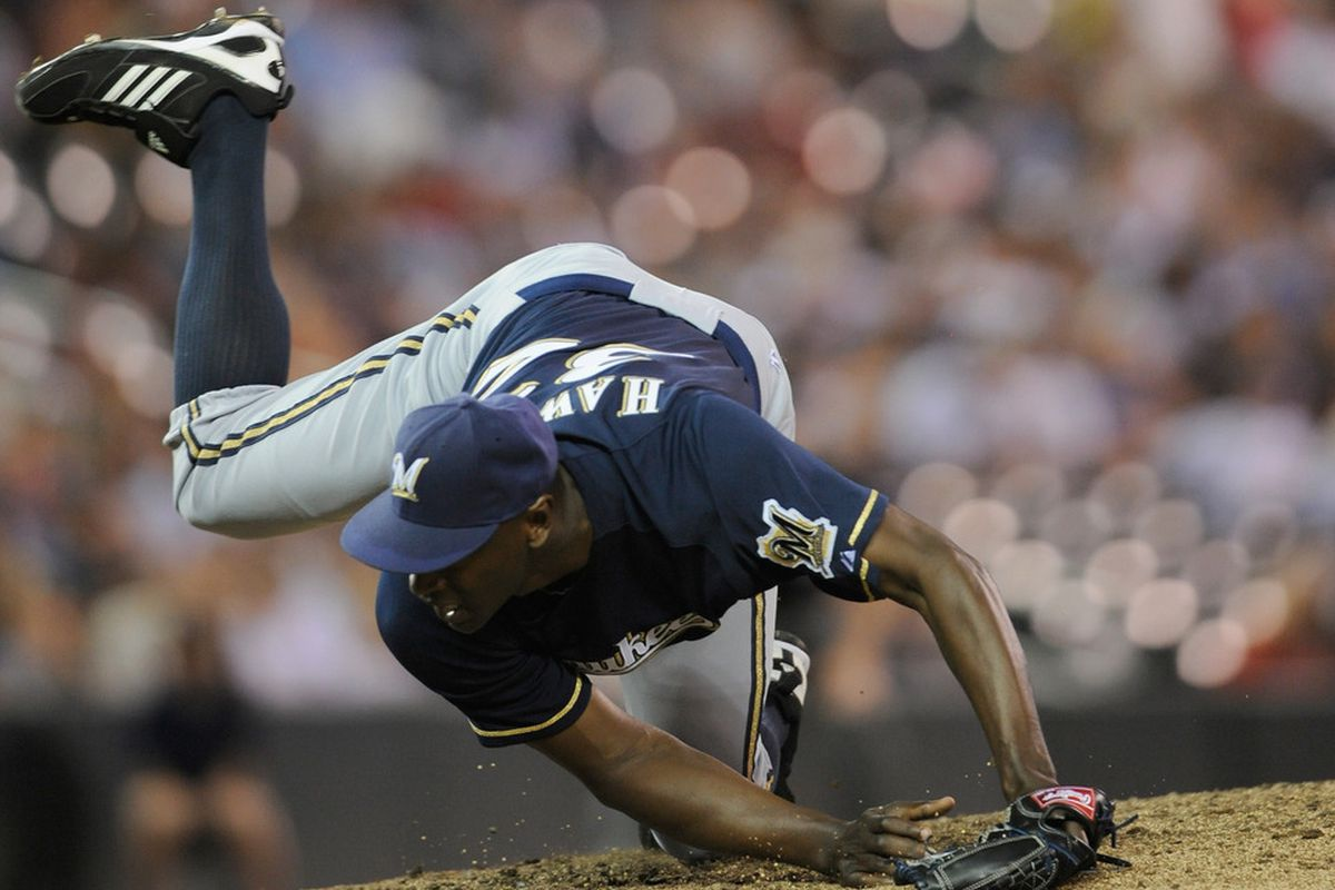 When looking for a challenge, LaTroy Hawkins pitches with his feet.