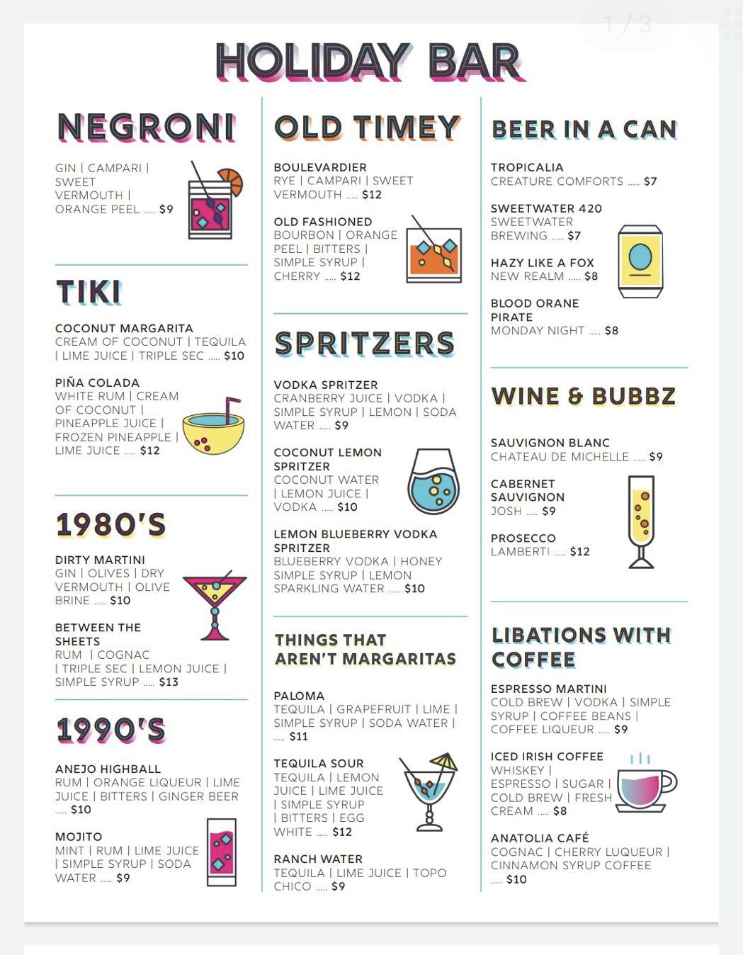 Sample cocktail menu from the Holiday Bar website in Atlanta, GA