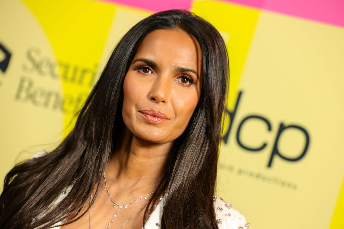 Padma Lakshmi poses backstage at the 2021 Billboard Music Awards at the Microsoft Theater in Los Angeles, California, earlier this year.