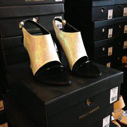 Iridescent heels, $175.