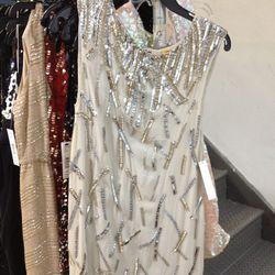 Embellished sample dress, $99