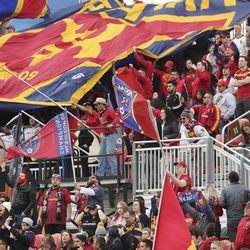 Fans cheer a goal in Sandy on Saturday, March 7, 2020. RSL tied with New York 1-1.