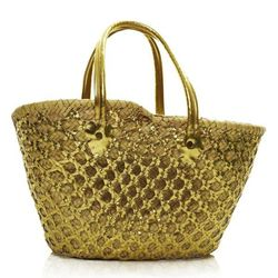 """<a href=""""http://importsfrommarrakesh.com/""""><b>Imports from Marakkesh</b></a> Gold Sequence Basket Tote"""