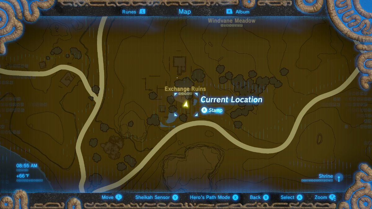 The location of Tingle's Hood at the Exchange Ruins