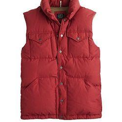 "<strong>J. Crew</strong> Boulder Down Vest in Wildfire, <a href=""http://www.jcrew.com/AST/Navigation/Sale/AllProducts/PRDOVR~50836/ENE~1+2+3+22+4294967294+20~~~16~15~all~mode+matchallany~~~~~vest/50836.jsp?isSaleItem=false"">$168</a>"