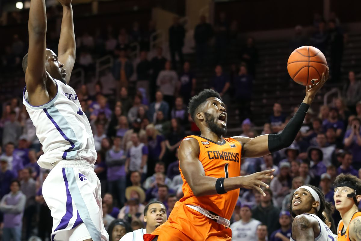 Oklahoma State Cowboys guard Jonathan Laurent (1) yells as he drives to the basket in the second half of a Big 12 basketball game between the Oklahoma State Cowboys and Kansas State Wildcats on February 11, 2020 at Bramlage Coliseum in Manhattan, KS.
